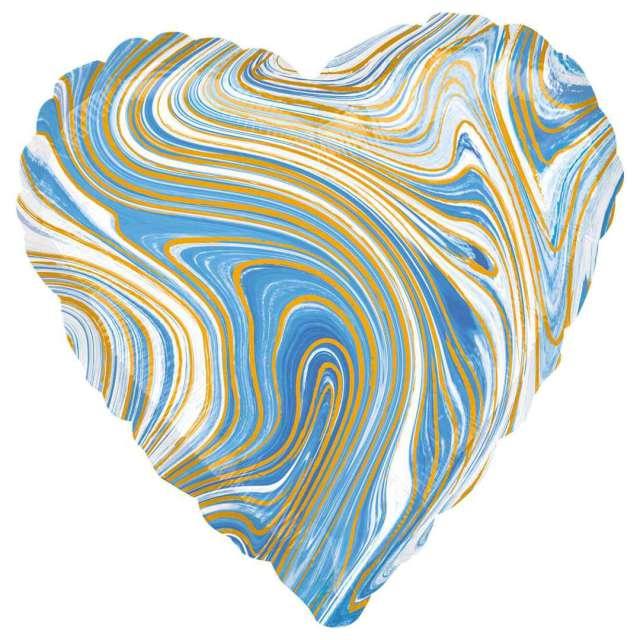 Balon foliowy Serce Marmurek niebieskie Amscan 17 HRT