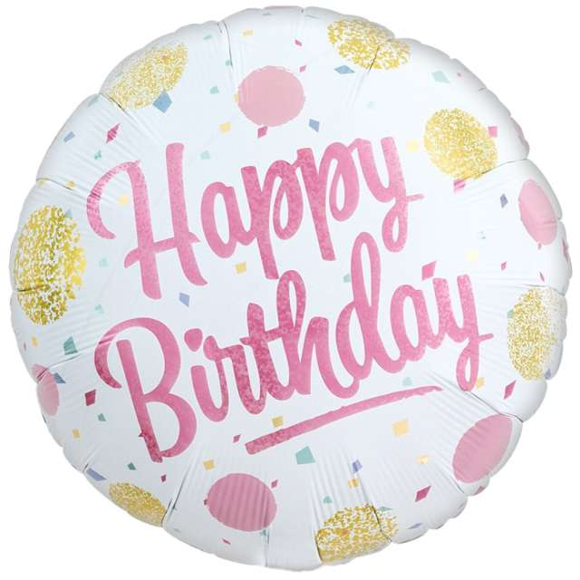 "Balon foliowy ""Happy Birthday - kropki"", Ibrex, 14"", RND"