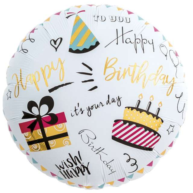 "Balon foliowy ""Happy Birthday - impreza"", Ibrex, 14"", RND"