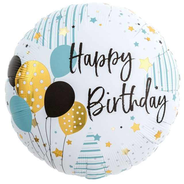 "Balon foliowy ""Happy Birthday - baloniki"", Ibrex, 14"", RND"