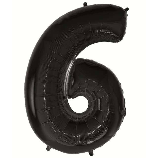 Balon foliowy Cyfra 6 czarny Godan 45