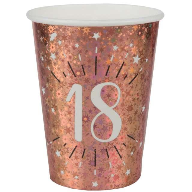 Kubeczki papierowe 18 urodziny - Holo Różowe złoto Santex 270 ml 10 szt