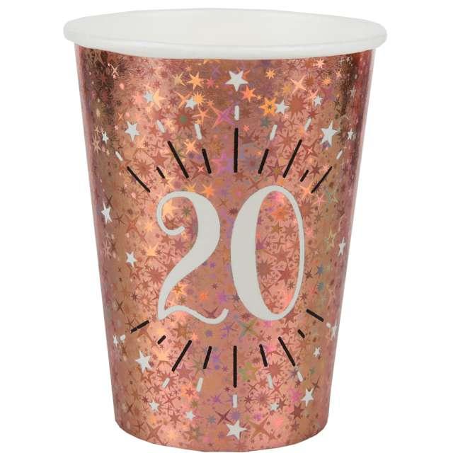 """Kubeczki papierowe """"20 urodziny - Holo Różowe złoto"""", Santex, 270 ml, 10 szt"""