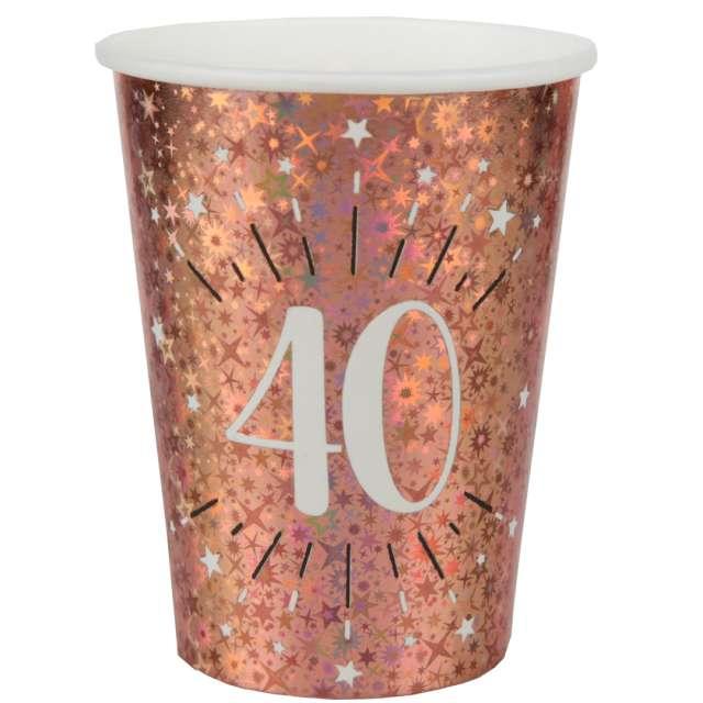 """Kubeczki papierowe """"40 urodziny - Holo Różowe złoto"""", Santex, 270 ml, 10 szt"""