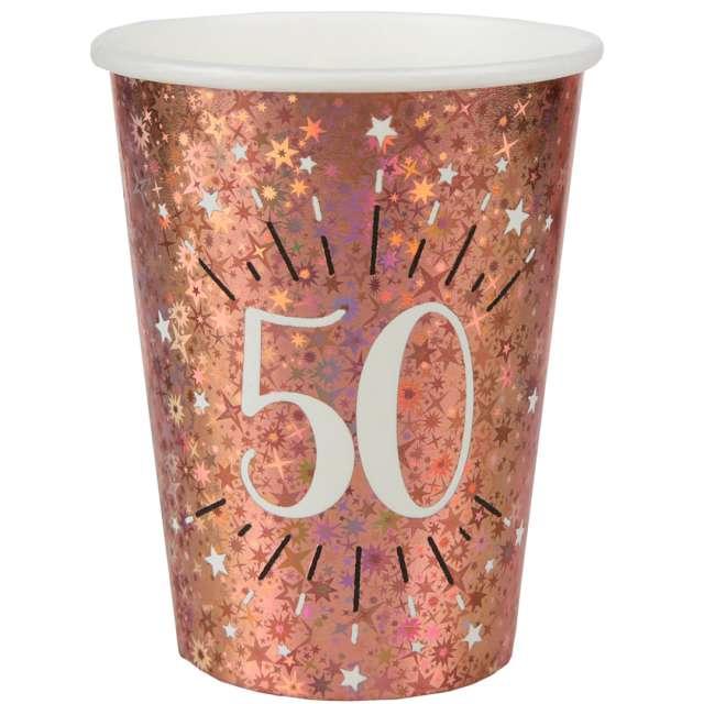 Kubeczki papierowe 50 urodziny - Holo Różowe złoto Santex 270 ml 10 szt