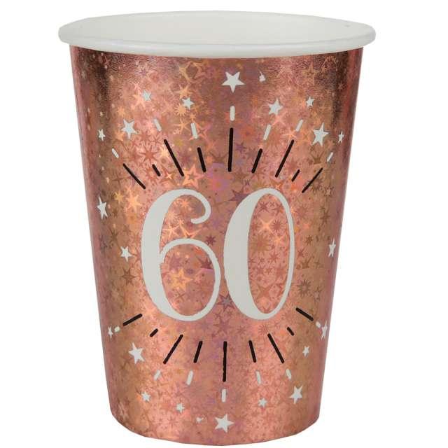 """Kubeczki papierowe """"60 urodziny - Holo Różowe złoto"""", Santex, 270 ml, 10 szt"""