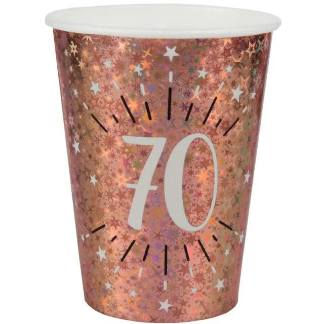 """Kubeczki papierowe """"70 urodziny - Holo Różowe złoto"""", Santex, 270 ml, 10 szt"""