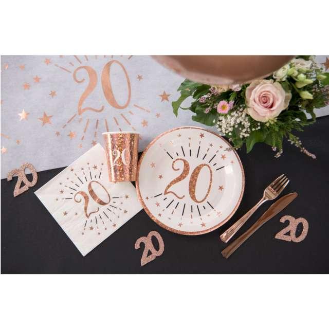 Kubeczki papierowe 70 urodziny - Holo Różowe złoto Santex 270 ml 10 szt