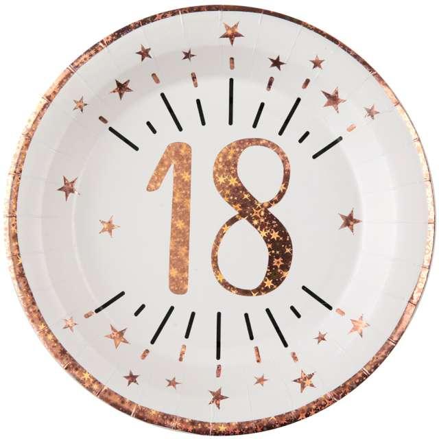 """Talerzyki papierowe """"18 urodziny - różowe złoto"""", biały, Santex, 22,5 cm, 10 szt"""