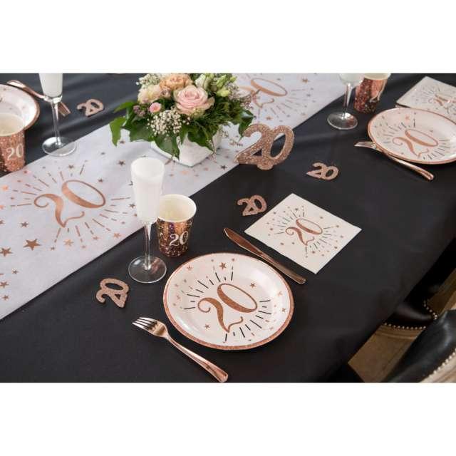 Talerzyki papierowe 18 urodziny - różowe złoto biały Santex 225 cm 10 szt