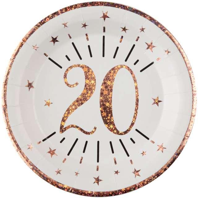 """Talerzyki papierowe """"20 urodziny - różowe złoto"""", biały, Santex, 22,5 cm, 10 szt"""