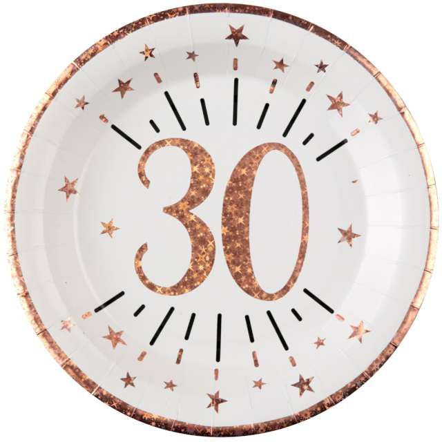 """Talerzyki papierowe """"30 urodziny - różowe złoto"""", biały, Santex, 22,5 cm, 10 szt"""