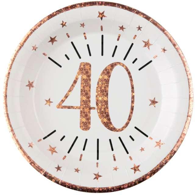 """Talerzyki papierowe """"40 urodziny - różowe złoto"""", biały, Santex, 22,5 cm, 10 szt"""
