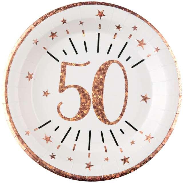 """Talerzyki papierowe """"50 urodziny - różowe złoto"""", biały, Santex, 22,5 cm, 10 szt"""