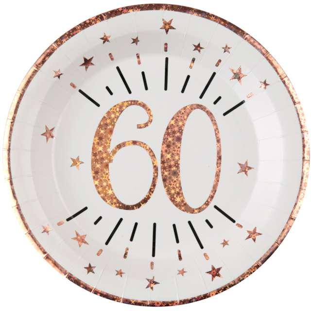 """Talerzyki papierowe """"60 urodziny - różowe złoto"""", biały, Santex, 22,5 cm, 10 szt"""
