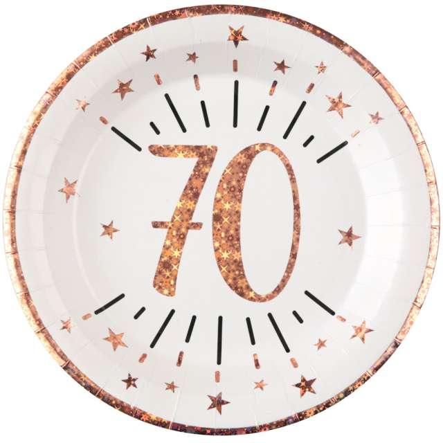 """Talerzyki papierowe """"70 urodziny - różowe złoto"""", biały, Santex, 22,5 cm, 10 szt"""