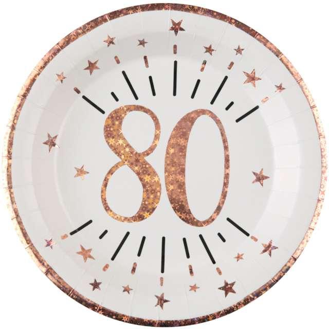 """Talerzyki papierowe """"80 urodziny - różowe złoto"""", biały, Santex, 22,5 cm, 10 sztv"""