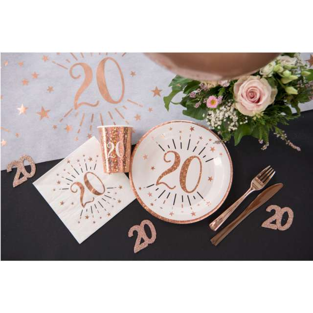 Talerzyki papierowe 80 urodziny - różowe złoto biały Santex 225 cm 10 sztv