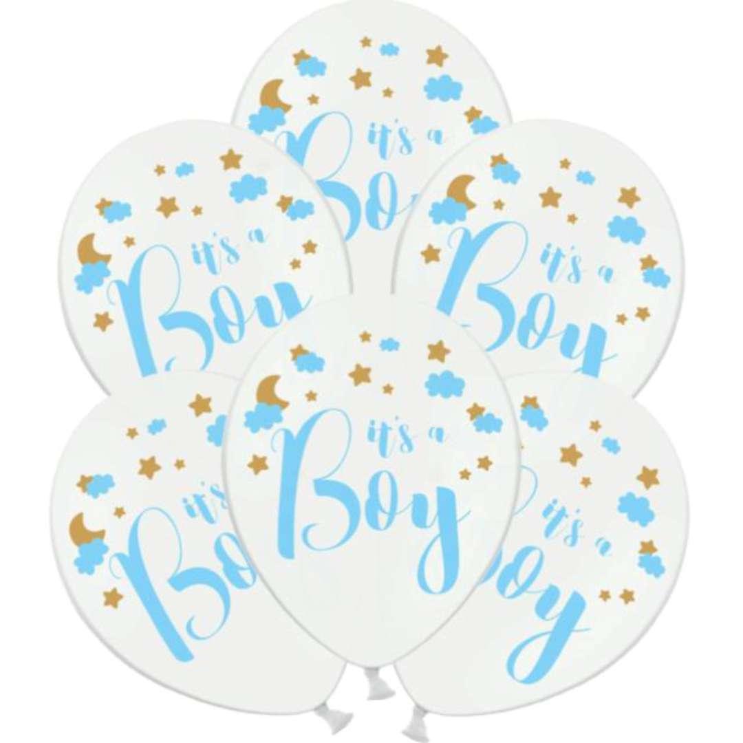 """Balony """"Its a Boy"""", białe, PartyDeco, 12"""", 6 szt"""