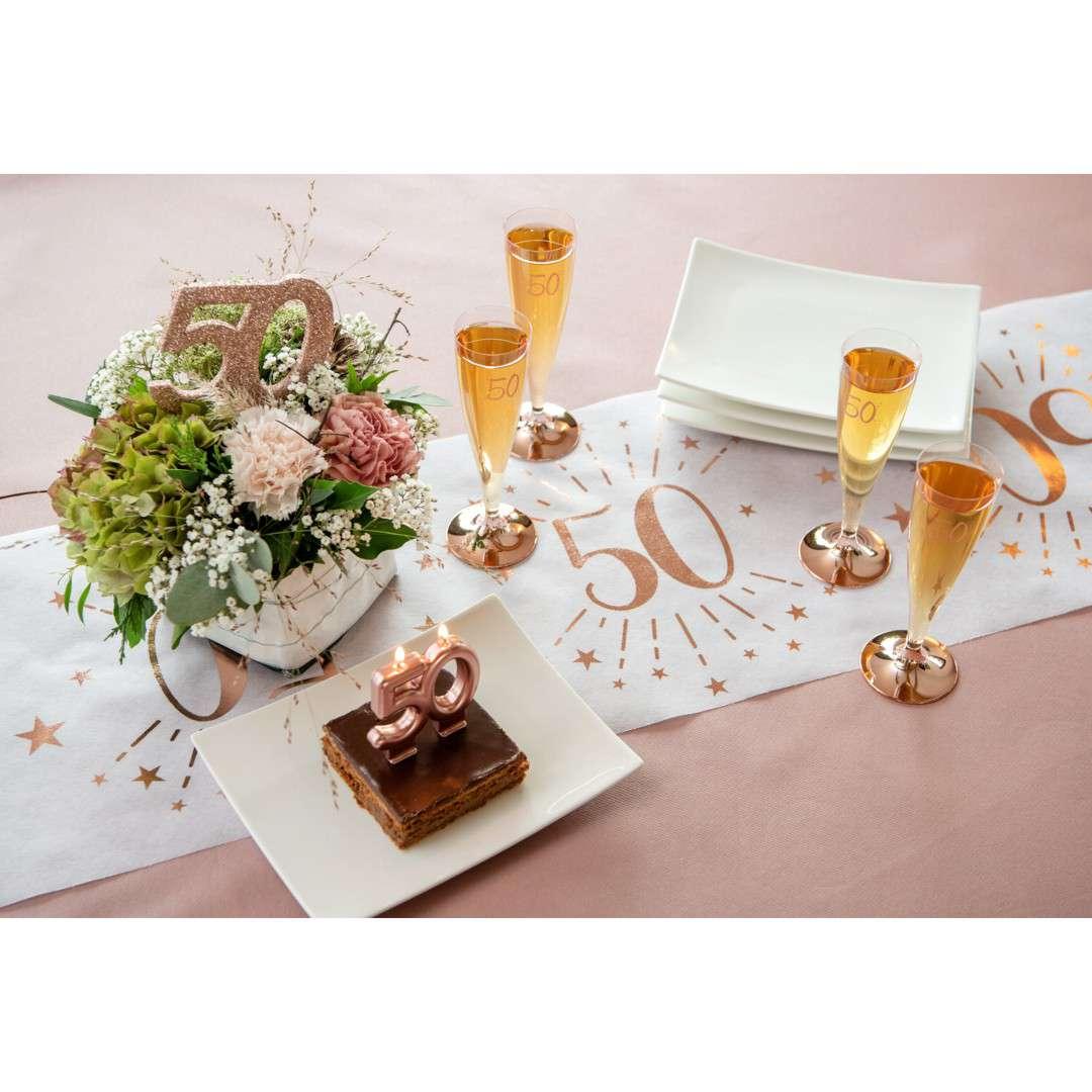 Talerzyki papierowe 60 urodziny - różowe złoto biały Santex 225 cm 10 szt