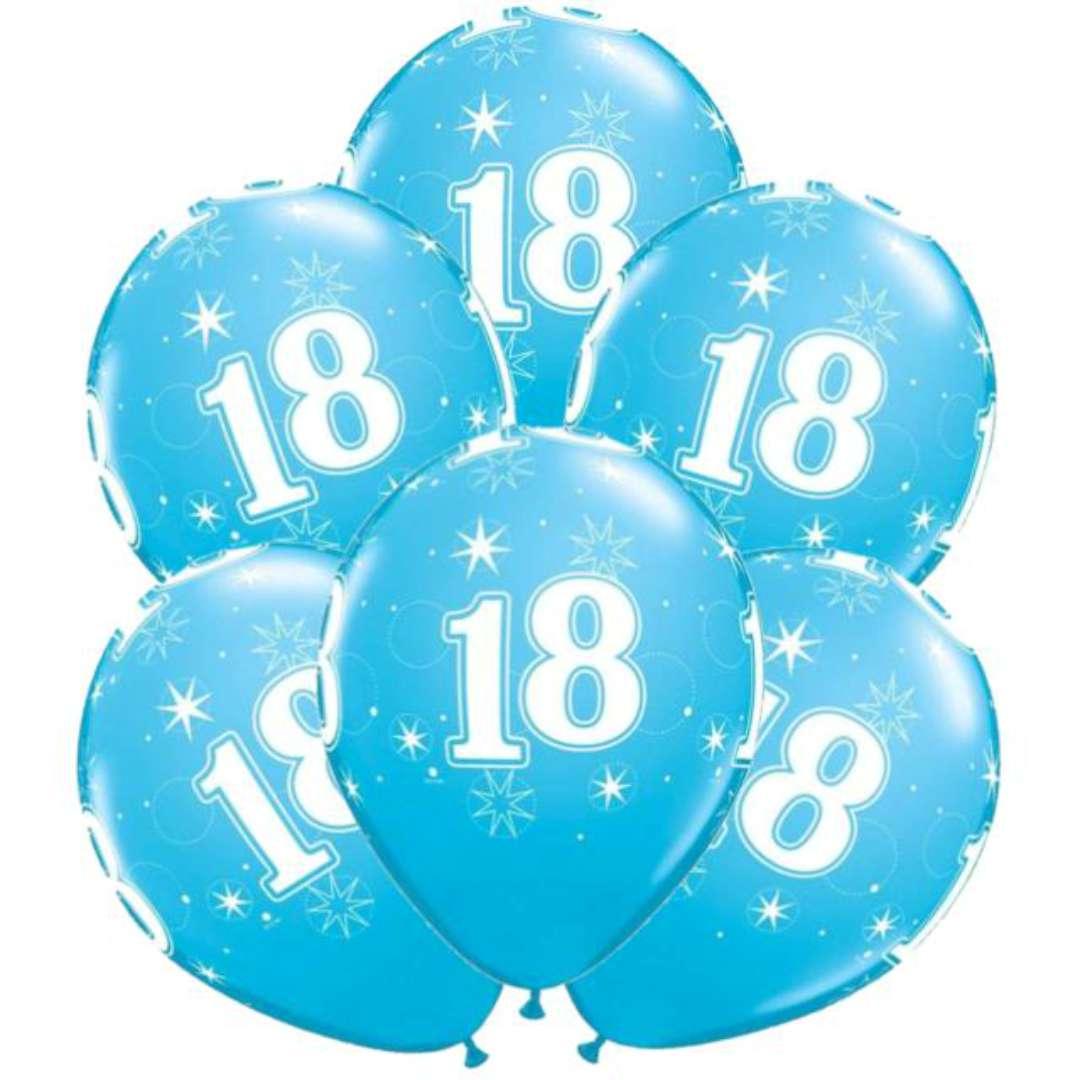 """Balony """"18 urodziny"""", niebieskie, Qualatex, 11"""", 6 szt."""