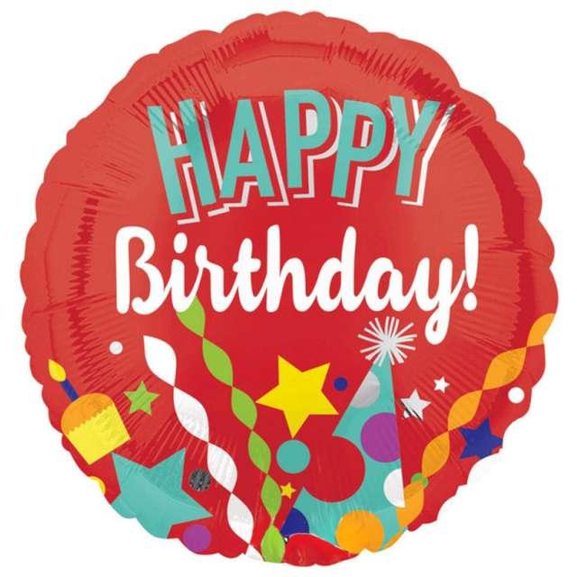 "Balon foliowy ""Happy birthday - impreza"", Amscan, 18"", RND"