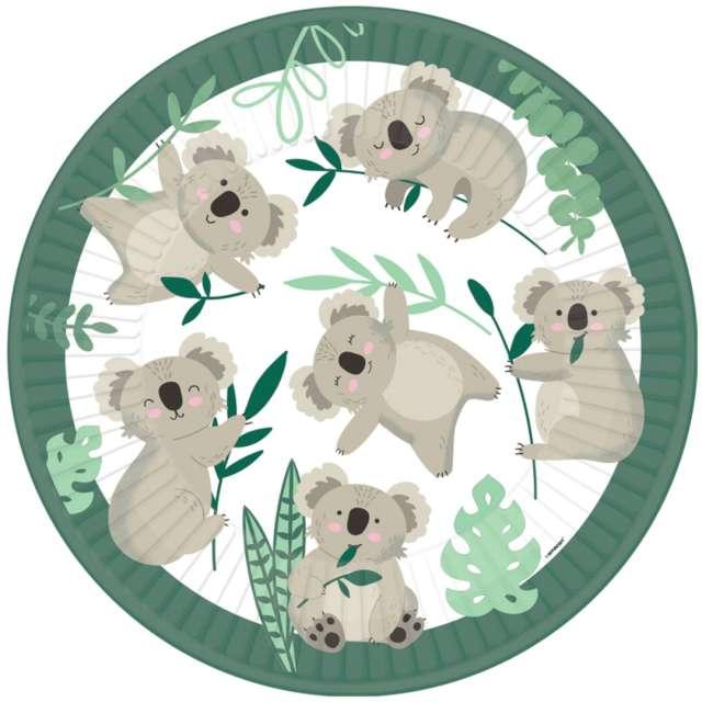"Talerzyki papierowe ""Koala"", Amscan, 22,8 cm, 8 szt"