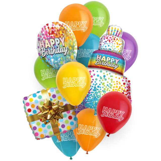 Zestaw imprezowy Happy Birthday butla z helem mix balonów wstążka Folat