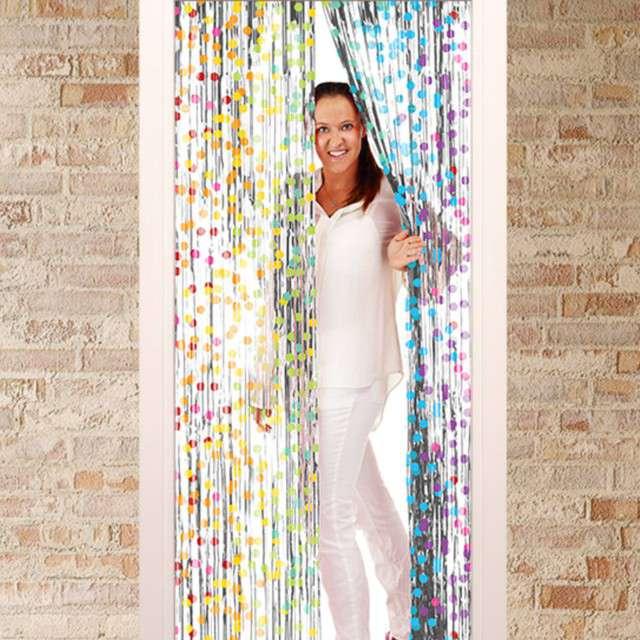 Kurtyna na drzwi Classic tęczowe kropki Folat 200x100 cm
