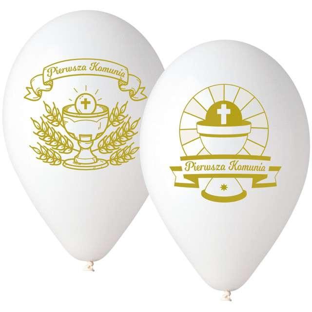 """Balony """"Pierwsza Komunia Święta"""", białe, Gemar, 12"""", 25 szt"""