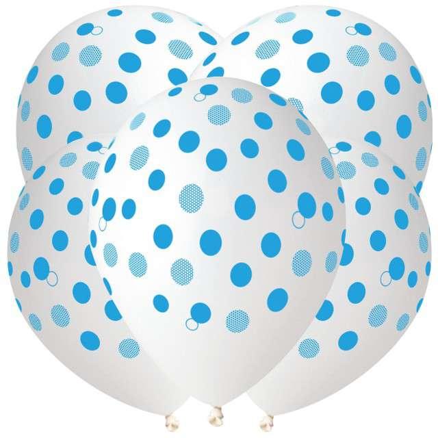 """Balony """"Niebieskie kropki"""", transparent, Gemar, 12"""", 5 szt"""