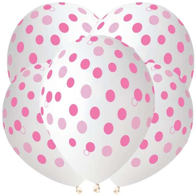 "Balony ""Różowe kropki"", transparent, Gemar, 12"", 5 szt"
