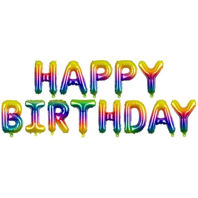 """Balon foliowy """"Happy Birthday"""", tęczowy, PartyDeco, zestaw"""