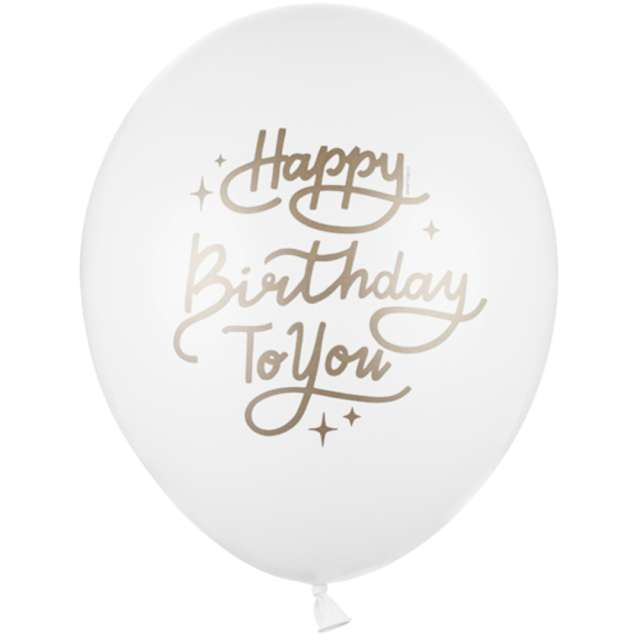 """Balony """"Happy Birthday To You"""", białe, PartyDeco, 12"""", 50 szt"""