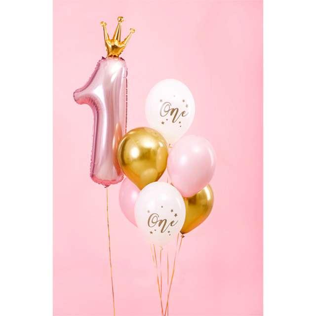Balony One - 1 urodziny białe PartyDeco 12 50 szt