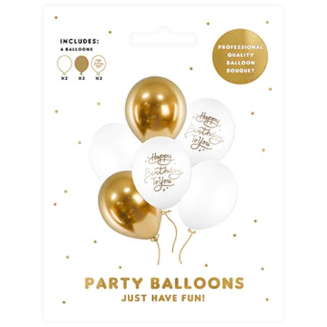 Balony Happy Birthday To You biało-złoty mix PartyDeco 12 6 szt