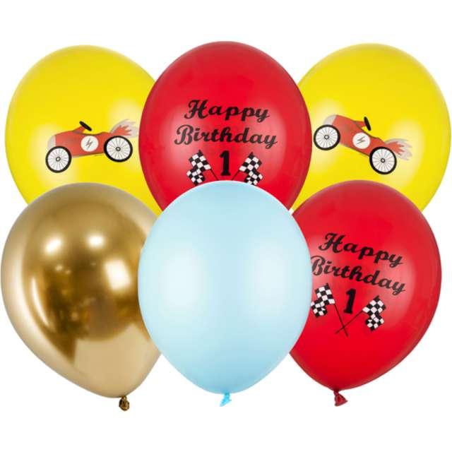 Balony Happy Birthday - Formuła 1 mix PartyDeco 12 6 szt