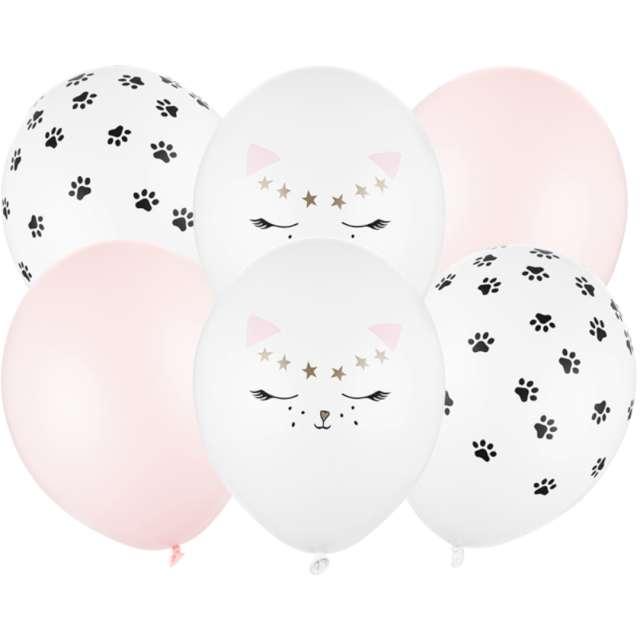 Balony Pastelowe Kotki PartyDeco 12 6szt