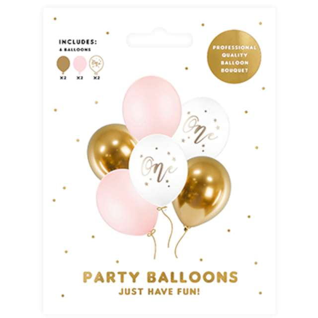 Balony One - Baby Pink mix PartyDeco 12 6 szt