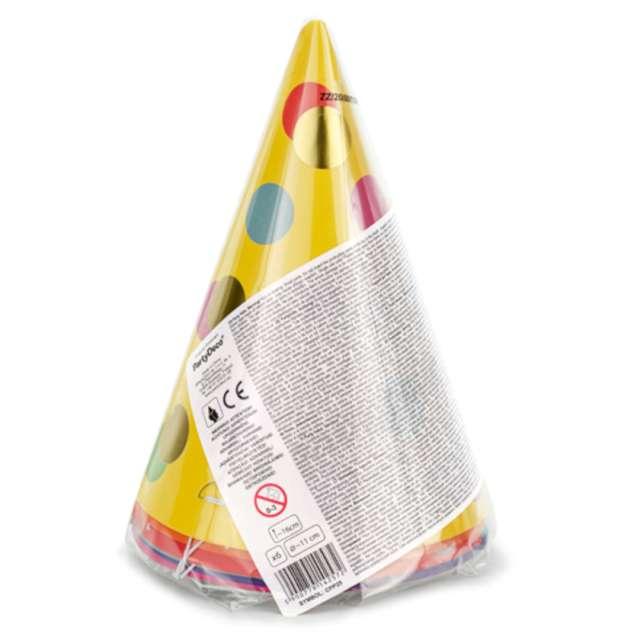 Czapeczki papierowe Kolorowe kropki mix PartyDeco 6 szt