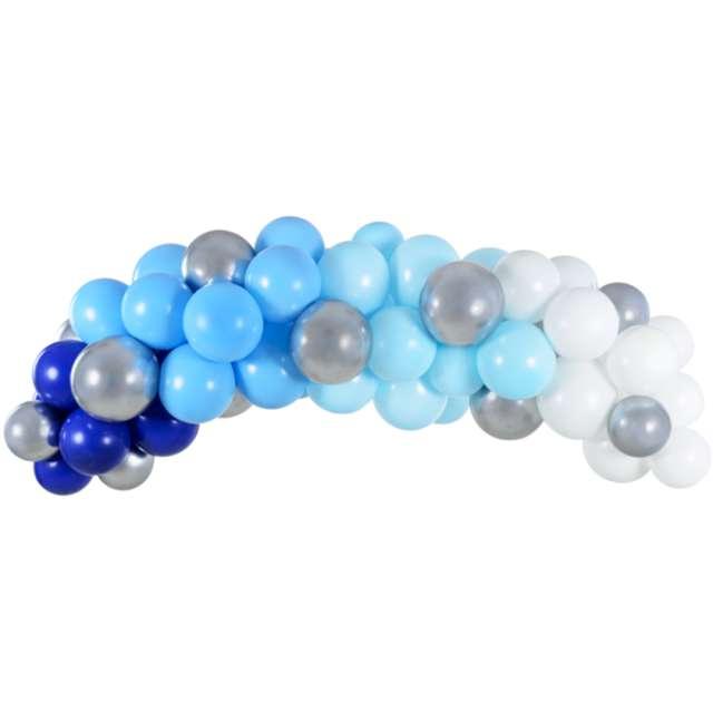 """Girlanda balonowa """"Niebiesko-granatowo-srebrna"""", PartyDeco, zestaw x60"""