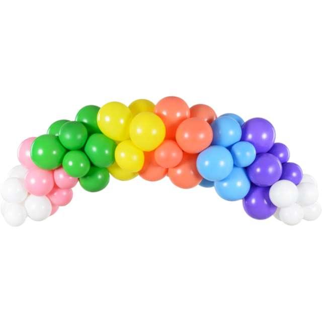 """Girlanda balonowa """"Kolorowa tęcza"""", mix, PartyDeco, zestaw 60szt"""