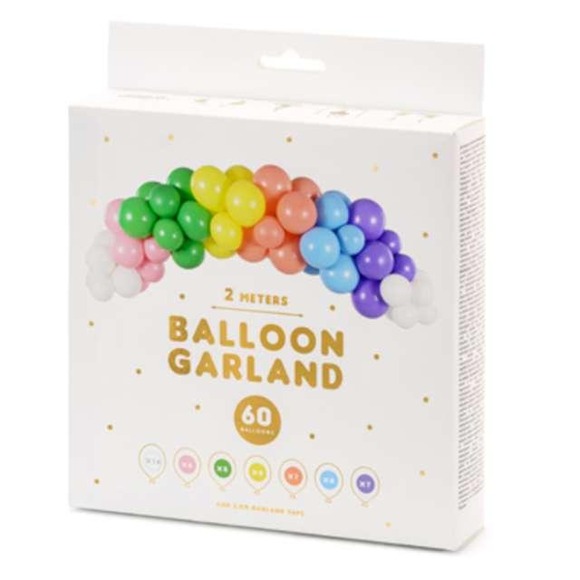 Girlanda balonowa Kolorowa tęcza mix PartyDeco zestaw 60szt