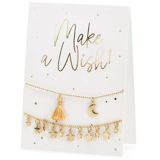 Kartka okolicznościowa Wypowiedz życzenie - bransoletka biała PartyDeco 105 x 148cm