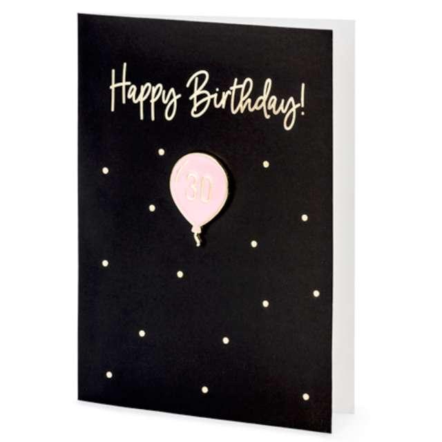 """Kartka okolicznościowa """"Happy Birthday 30 z kopertą"""", czarna, PartyDeco, 10,5 x 14,8 cm"""