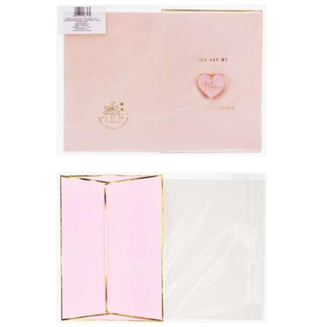 Kartka okolicznościowa Dzień Matki - Best Friend z kopertą różowa PartyDeco 10.5 x 14.8 cm