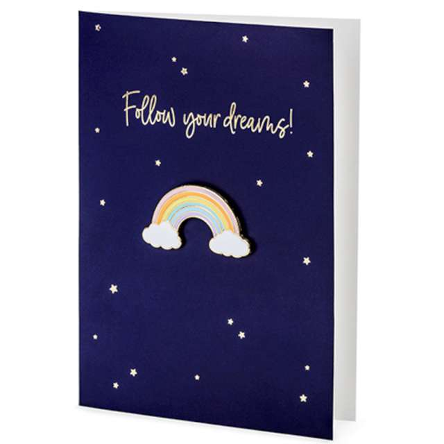 Kartka okolicznościowa Tęcza - Follow your Dreams z kopertą PartyDeco 105 x 148 cm