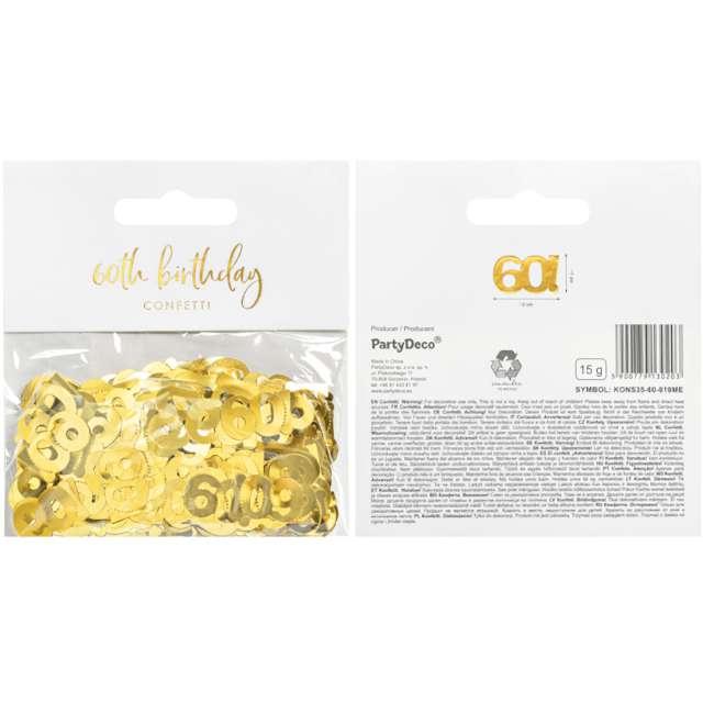 Konfetti Metalizowane - Liczba 60 złote PartyDeco 15 g