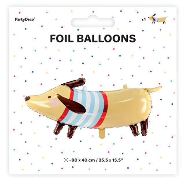Balon foliowy Jamnik w sweterku PartyDeco 90 x 40 cm SHP