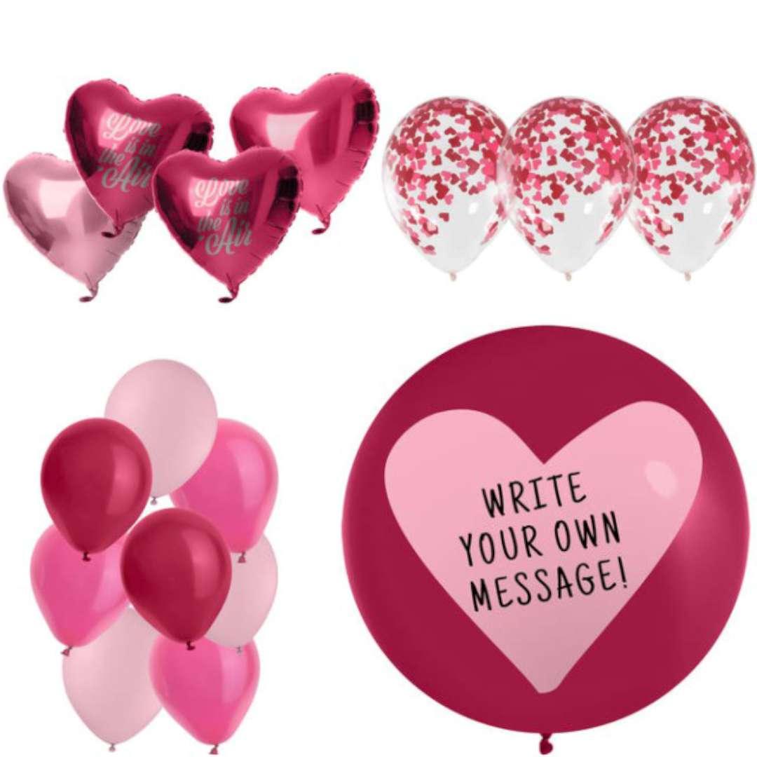 Zestaw imprezowy LOVE butla z helem mix balonów wstążka Folat